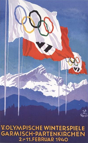 Poster for the 1940 Winter Olympics, scheduled to be held in February 1940 in Garmisch-Partenkirchen, Germany, and canceled (University of Oslo)