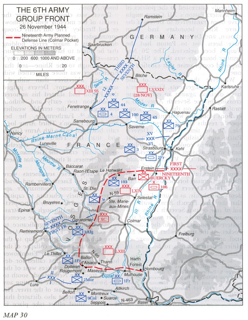Map of Allied 6th Army Group front, 26 Nov 1944 (US Army Center of Military History)