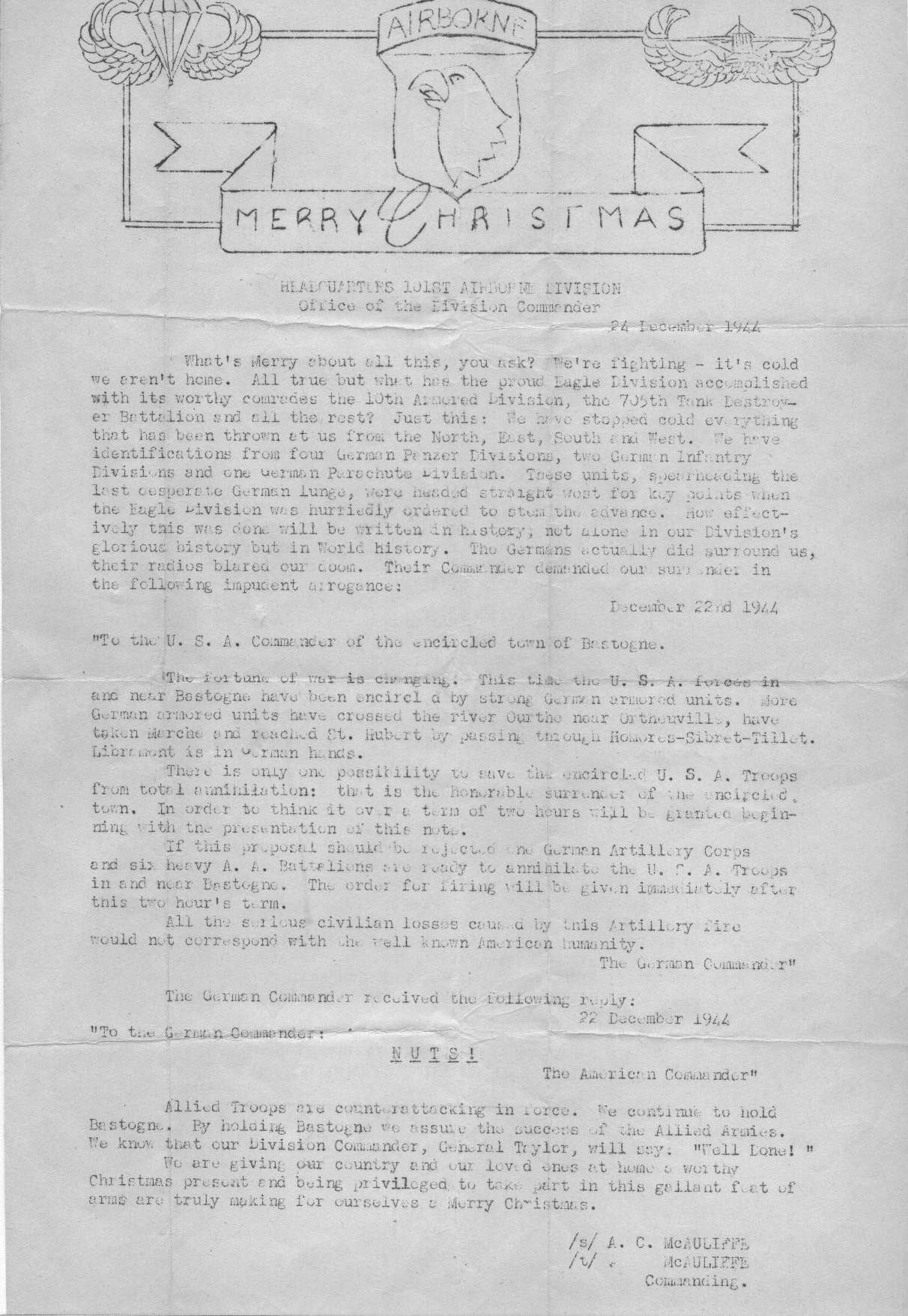 Brig. Gen. Anthony McAuliffe's Christmas letter to the US 101st Airborne Division at Bastogne, Belgium in which he recreated the German surrender demand and his response (Source: US Army)
