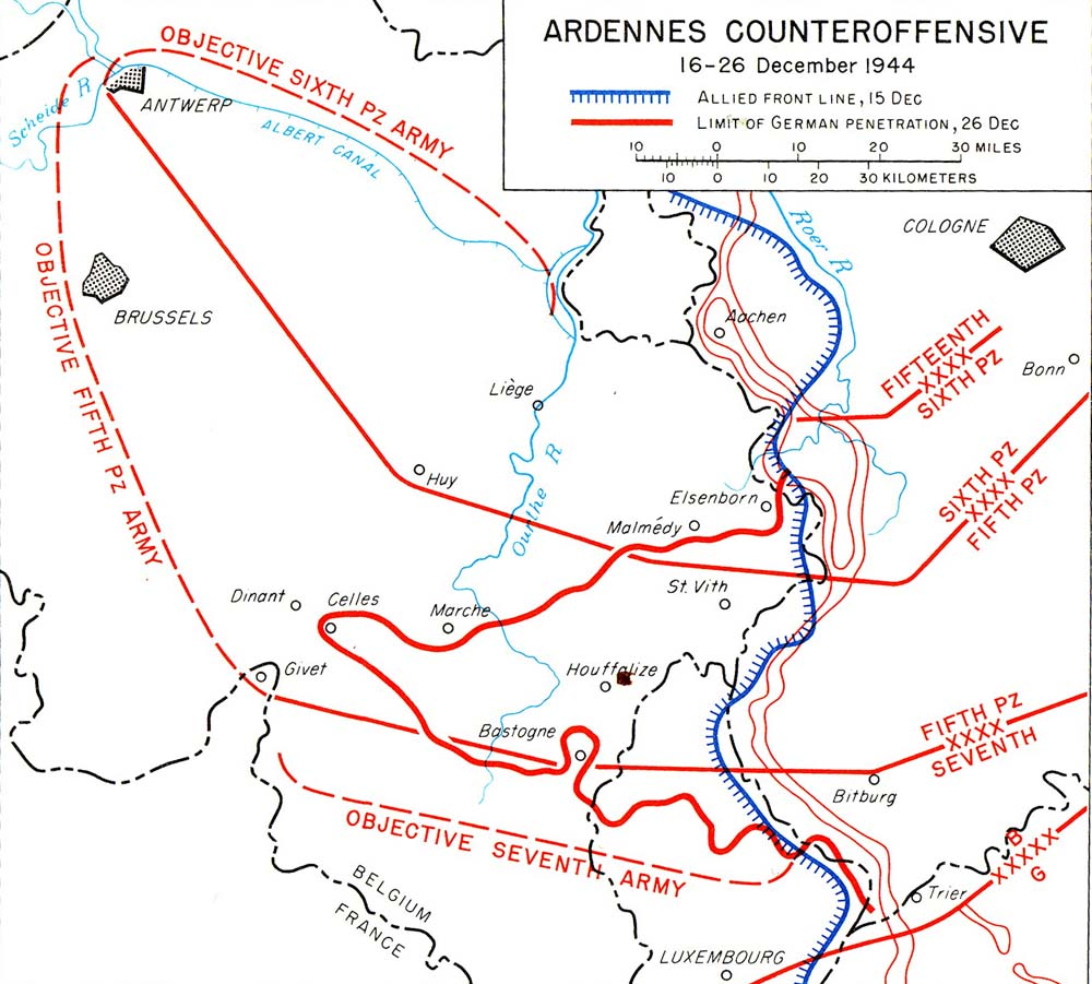 Map noting the objective of and actual ground gained during the German Ardennes Offensive, 16-26 Dec 1944 (US Army)