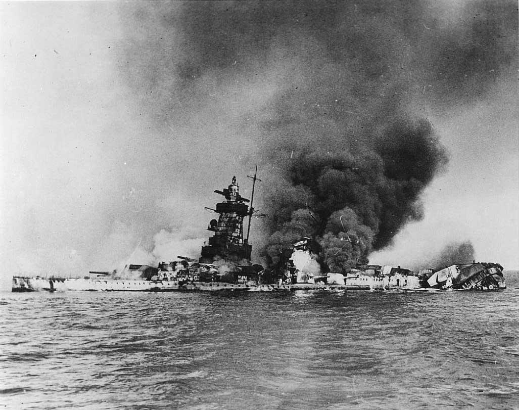 Admiral Graf Spee burning at Montevideo, 17 Dec 1939 (public domain via WW2 Database)