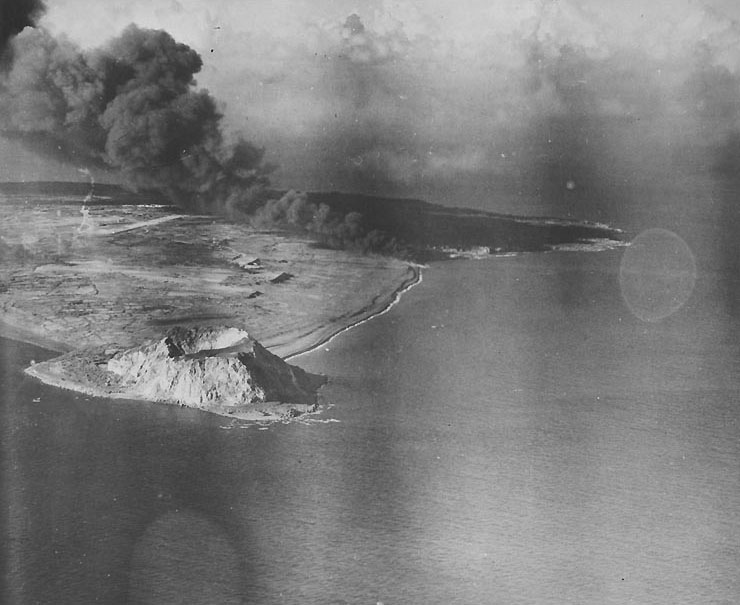 Airfield Number Two burning after American air raid, Iwo Jima, early 1945 (US Naval History and Heritage Command)