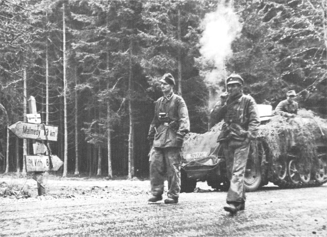 Joachim Peiper's SS troops on the road to Malmédy, Belgium, 17 Dec 1944 (US Army Center of Military History)