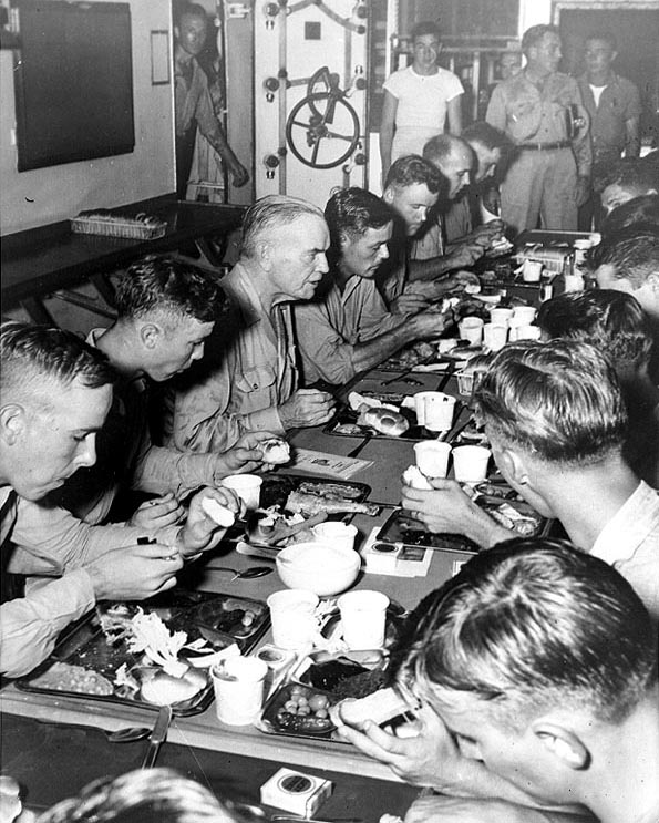 Adm. William Halsey having Thanksgiving dinner with the crew of battleship USS New Jersey, his flagship, Nov 1944 (US National Archives: 80-G-291498)