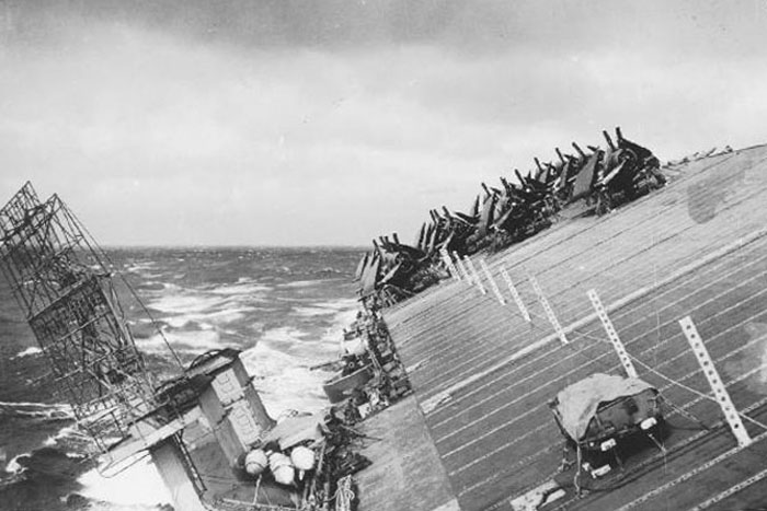 Light carrier USS Cowpens rolling in heavy seas in Typhoon Cobra, 18 Dec 1944 (US Navy photo)