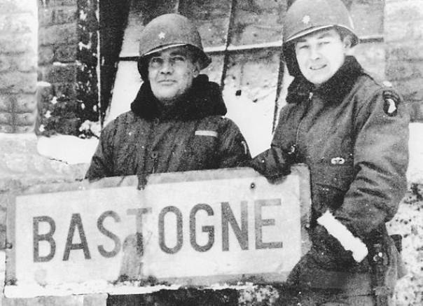 Brig. Gen. Anthony McAuliffe and Lt. Col. Harry Kinnard II at Bastogne, Belgium, late Dec 1944 (US War Dept. photo)