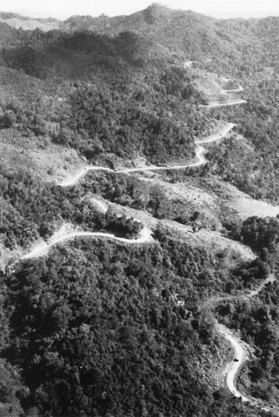 Aerial view of the first convoy to go from India to China over the re-opened Burma Road (US Army Center of Military History)