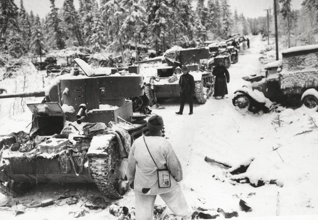 Finnish troops inspecting destroyed Soviet vehicles, Finland, 17 Jan 1940 (US Library of Congress)