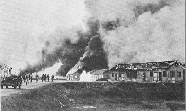 Americans destroy Hengyang Airfield in China as Japanese advance, June 1944 (US Army Air Force photo)