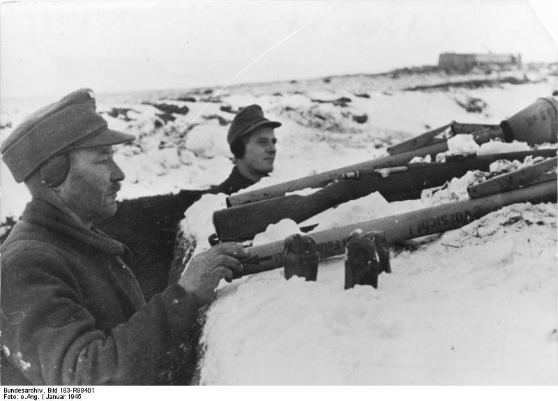 German Volkssturm troops at Königsberg, Germany, Jan 1945 (German Federal Archive, Bild 183-R98401)
