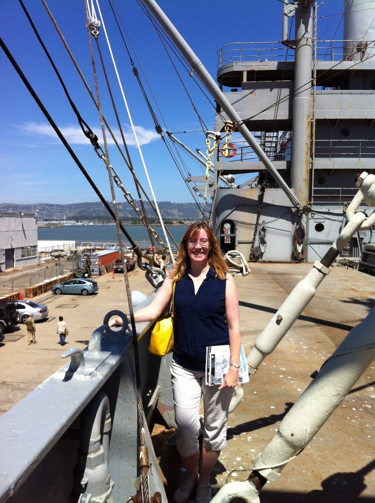 Sarah Sundin on board SS Red Oak Victory at Rosie the Riveter WWII Home Front National Historical Park, Richmond, CA, May 2014 (Photo: Sarah Sundin)