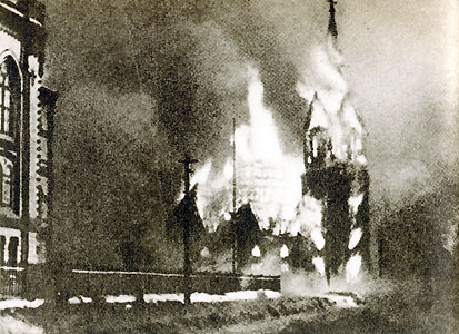 Lutheran church of Sortavala, Finland on fire after Soviet bombing, 2 Feb 1940 (public domain via WW2 Database)