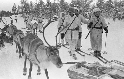 Finnish soldiers on skis with reindeer, near Jäniskoski, Finland, 20 Feb 1940 (public domain via WW2 Database)