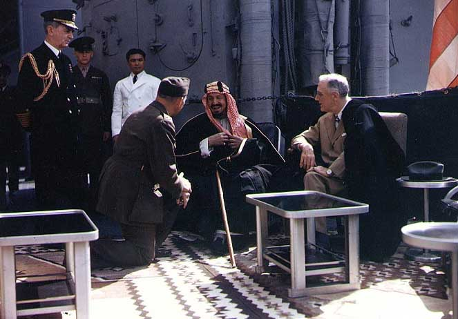 Franklin Roosevelt and King Abdul-Aziz (Ibn Saud) of Saudi Arabia aboard USS Quincy, Great Bitter Lake, Egypt, 14 Feb 1945 (US National Archives: USA C-545)