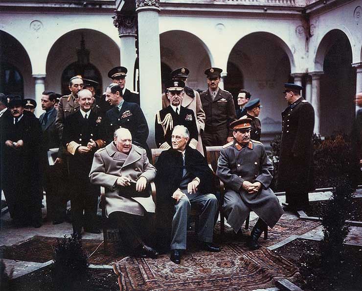 Churchill, Roosevelt, and Stalin at the Livadia Palace in Yalta, USSR (now Ukraine), Feb 1945. (US National Archives: USA C-543)