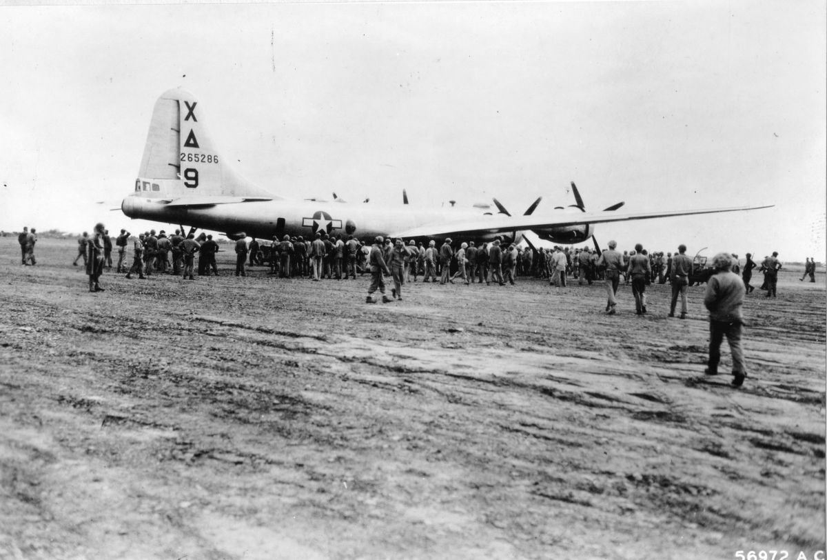 B-29 Superfortress bomber 'Dinah Might' after making an emergency landing at Motoyama Airfield No. 1, Iwo Jima, 4 Mar 1945 (US Marine Corps photo: 112392)