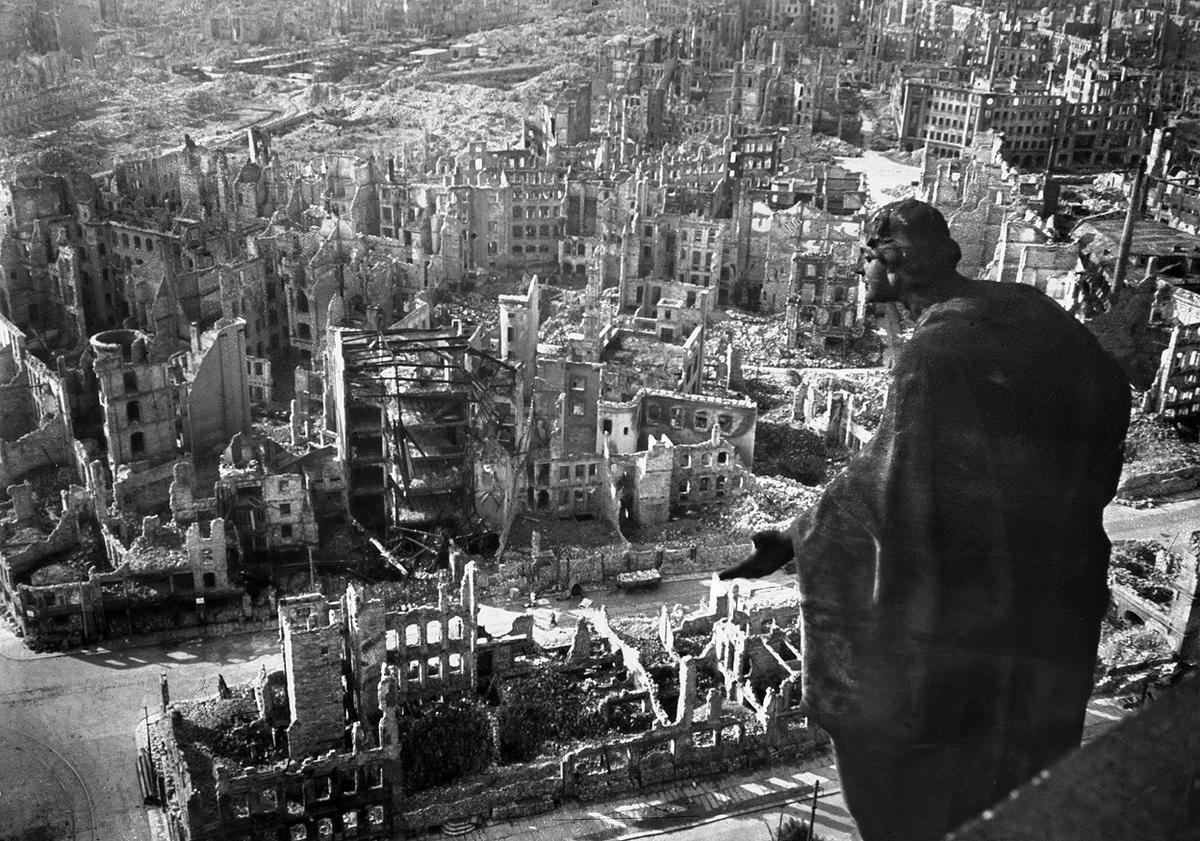 Ruins of Dresden seen from the Rathaus, 15 Feb 1945 (US Army Signal Corps)