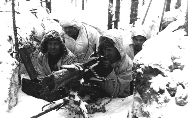 Finnish Army machine gun crew during the Winter War, 21 Feb 1940 (public domain via WW2 Database)