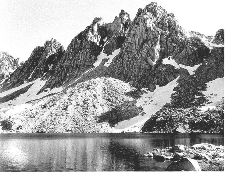 """""""Kearsarge Pinnacles,"""" Kings Canyon circa 1930s. (Photo by Ansel Adams, US National Archives: 79-AAH-7)"""