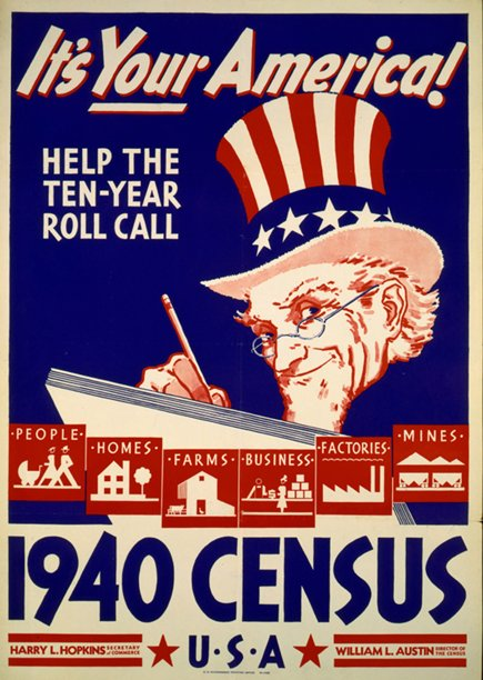 Poster for the 1940 US Census