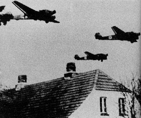 German Junkers Ju 52 transport aircraft over Denmark, 9 Apr 1940 (public domain via WW2 Database)
