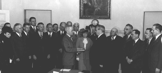 Harry Truman being sworn in as the President of the United States, White House, Washington, DC, 12 Apr 1945 (Harry S. Truman Presidential Library and Museum: 73-1909)