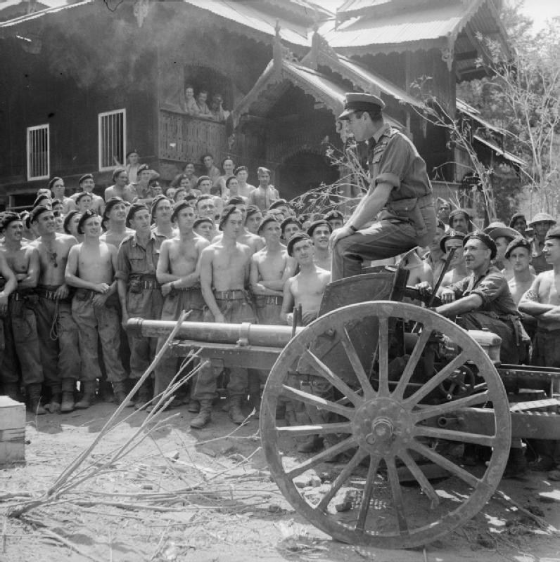Adm. Lord Louis Mountbatten addressing men of British Royal Armoured Corps, Mandalay, Burma, 21 Mar 1945 (Imperial War Museum: SE 3484)