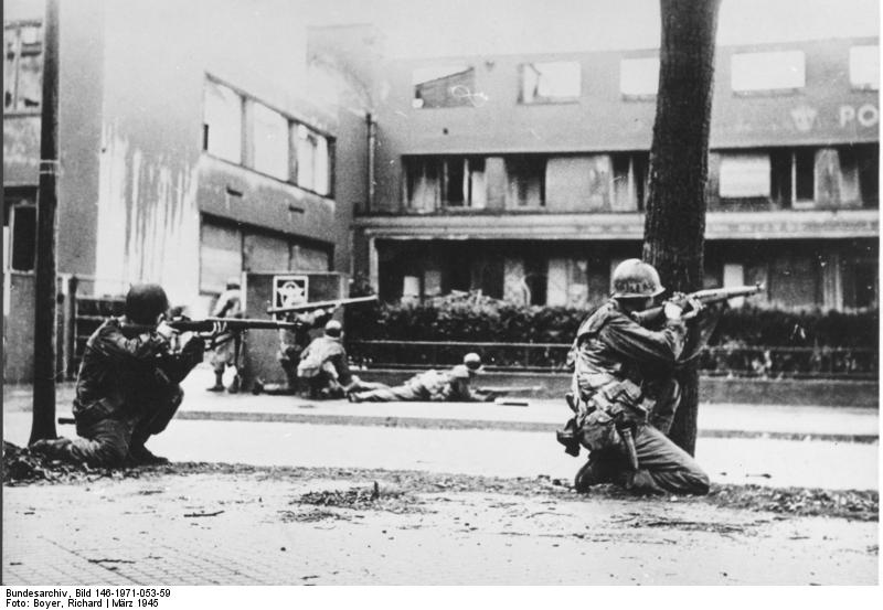 Soldiers of 44th Division, US Seventh Army in Mannheim, Germany, 29 Mar 1945 (German Federal Archive, Bild 146-1971-053-59)