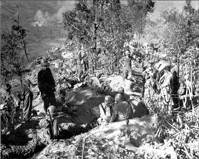 Men of US Mars Task Force on Loi-Kang Ridge, Burma, 475th Infantry, 19 January 1945. (US Army Center of Military History)