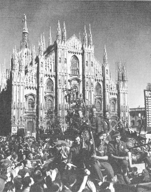 Italian Partisans before the Cathedral of Milan (US Army Center of Military History)