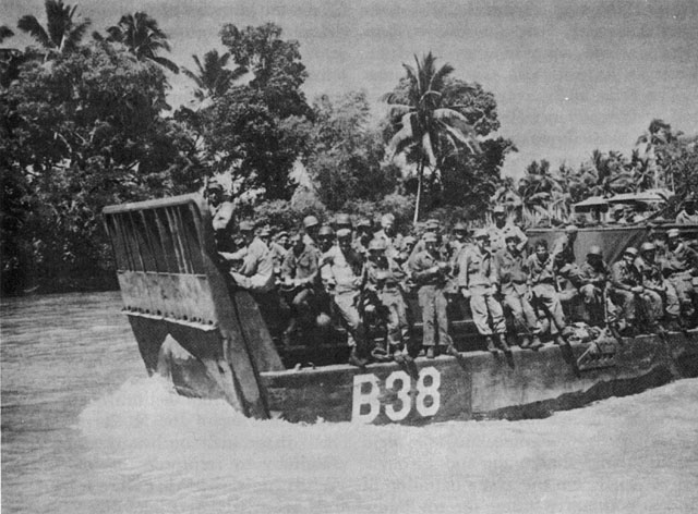 US LCM carrying troops, Mindanao River, 1945 (US Army Center of Military History)