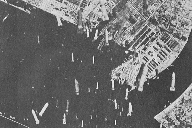 Incendiary bombing of Osaka, Japan. (US Army Air Force photo)