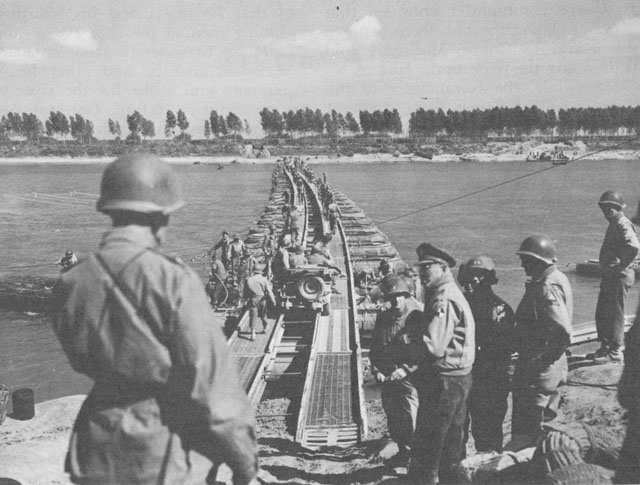 US Army engineers place a steel treadway bridge across the Po River (US Army Center of Military History)