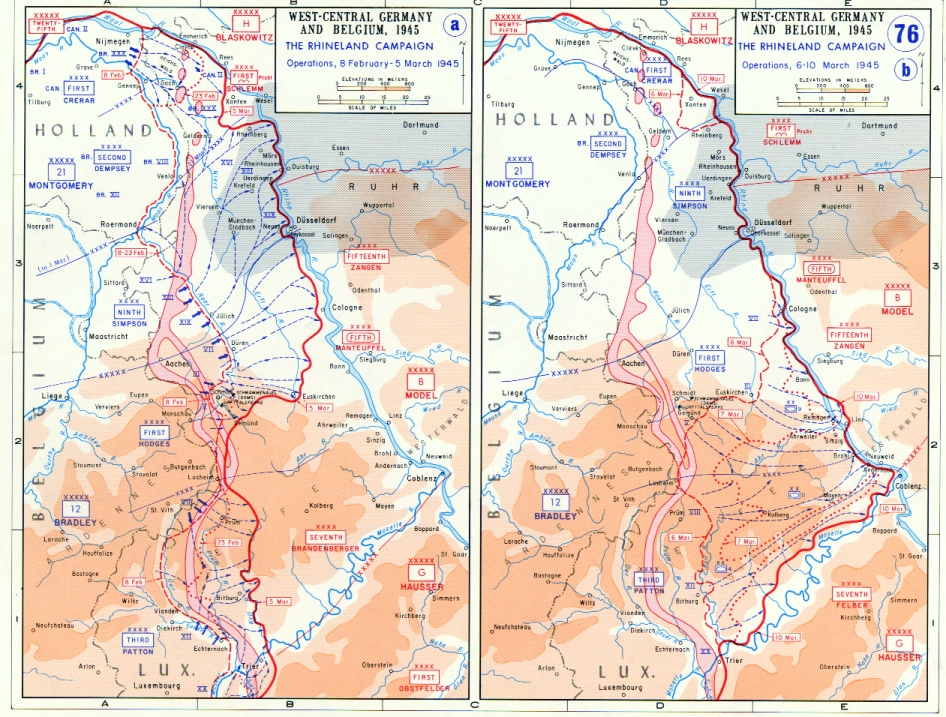 Map depicting the Allied advance to the Rhine River in West-Central Germany and Belgium, 8 Feb-10 Mar 1945 (US Military Academy)