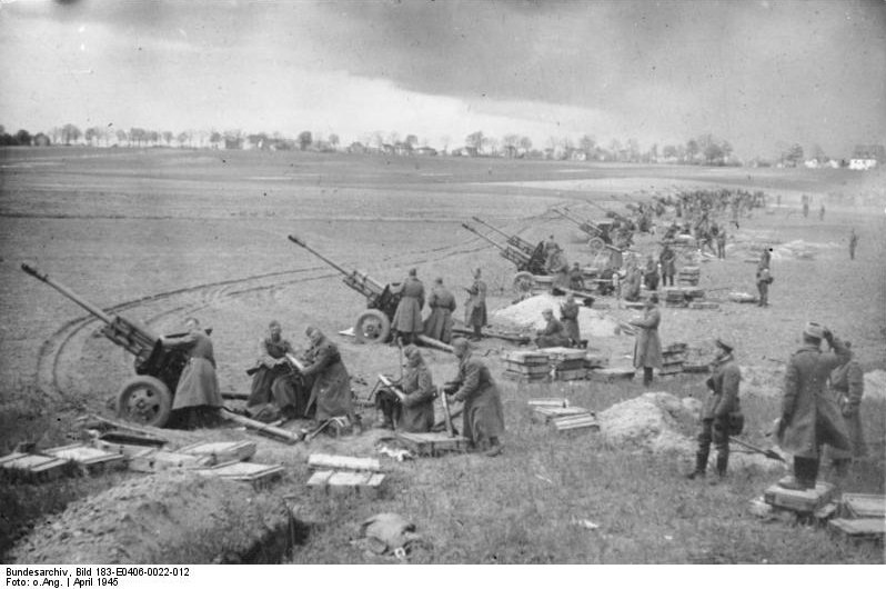 Soviet ZiS-3 guns bombarding German positions near Seelow Heights, Berlin, Germany, 16-19 Apr 1945 (German Federal Archives: Bild 183-E0406-0022-012)