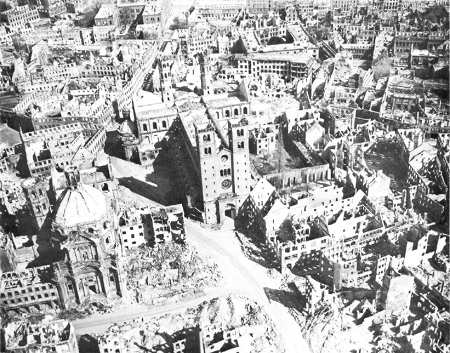 Destruction in Würzburg, Germany, April 1945 (US Army Center of Military History)