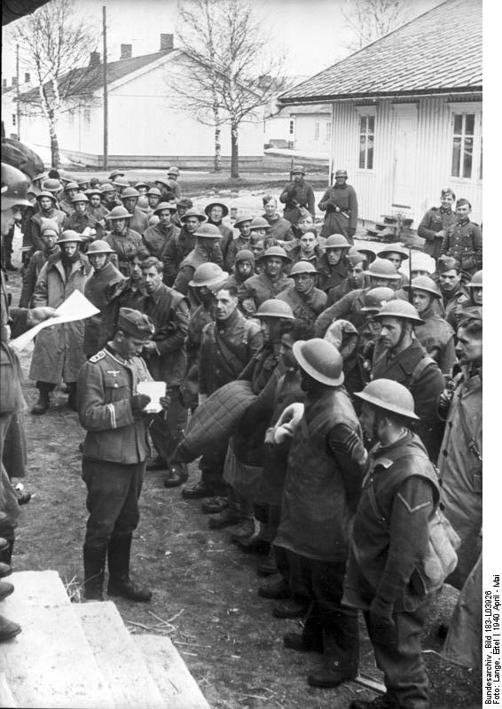 British POWs at Trondheim, Norway, May 1940 (German Federal Archives: Bild 183-LO3926)