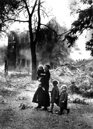 A Dutch family in a devastated town after the German invasion, May 1940 (public domain via WW2 Database)