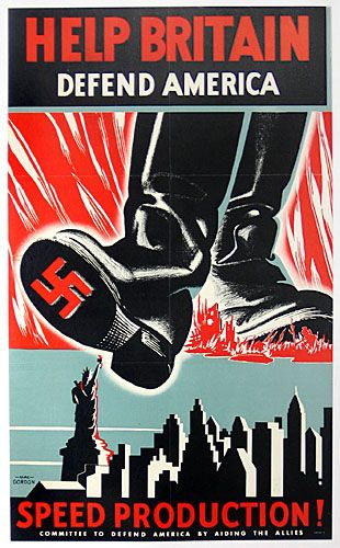 Poster of the US Committee to Defend America by Aiding the Allies, 1940-41