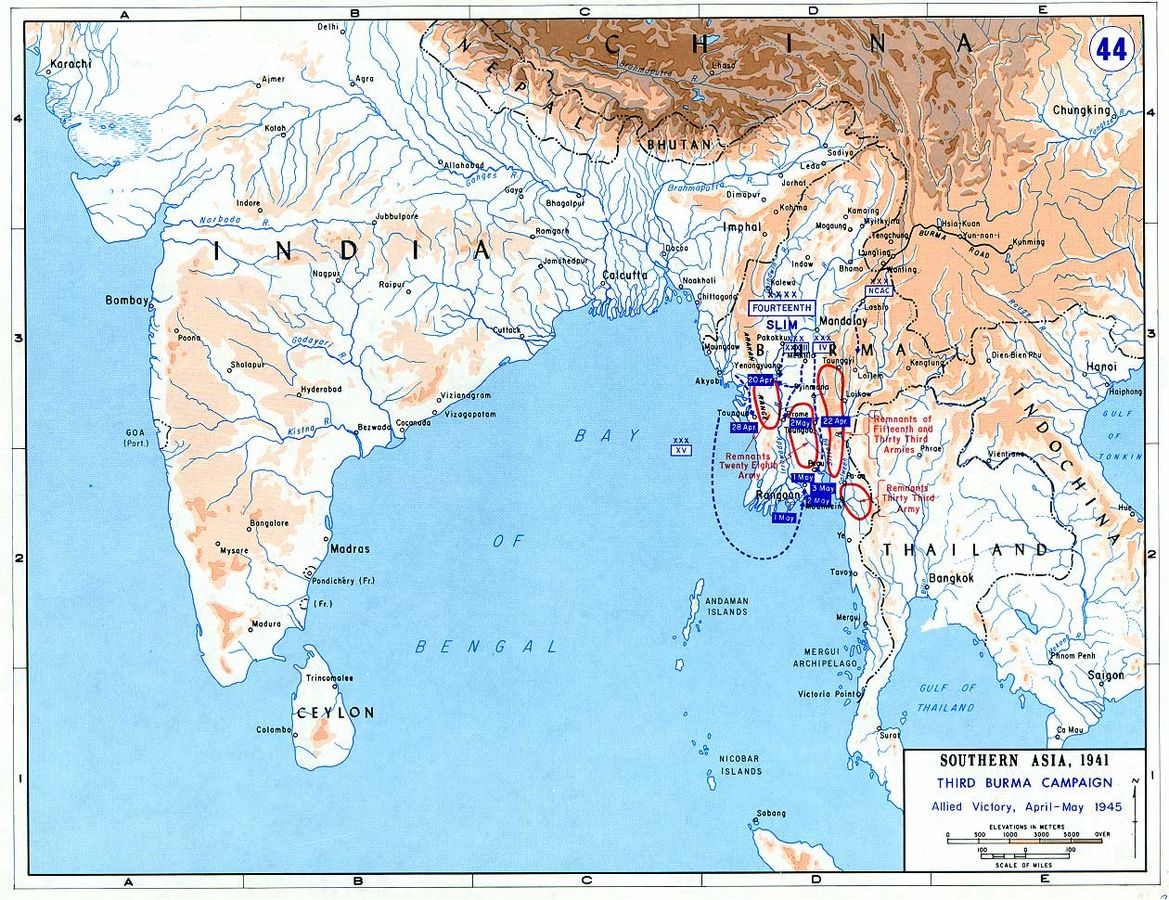 Allied Third Burma Campaign, April-May 1945 (US Military Academy map)