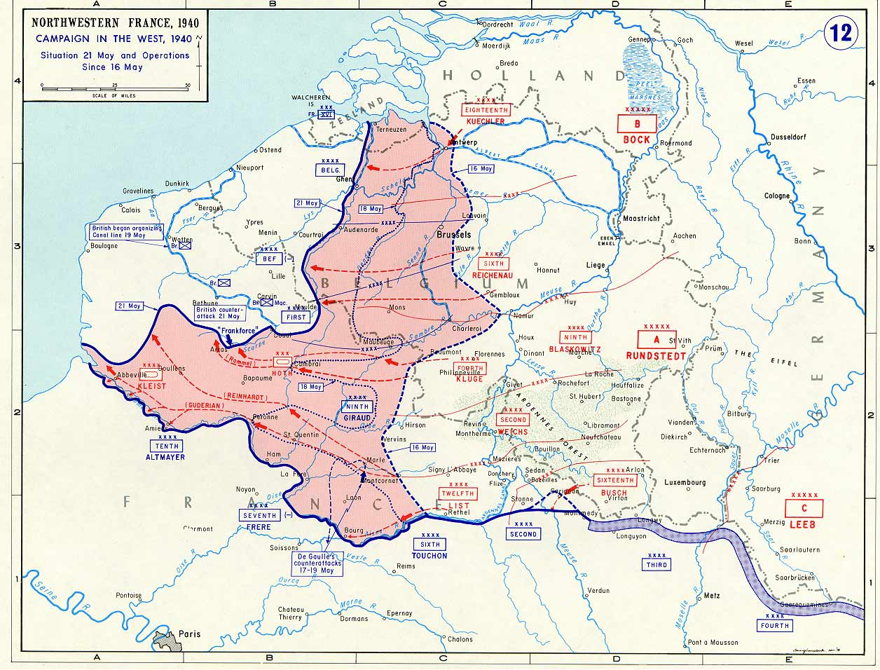 Map noting German advances in France and the Low Countries between 16 and 21 May 1940 (US Military Academy map)