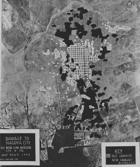 US Army Air Force study of damage to Nagoya, Japan done by aerial bombing on 14 and 17 May 1945 (US National Archives)