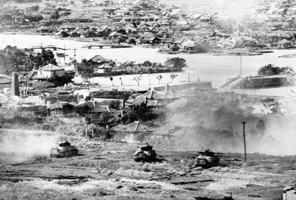 Sherman tanks of US 6th Marine Division at Naha, Okinawa, Japan, 27 May 1945 (US Marine Corps photo)