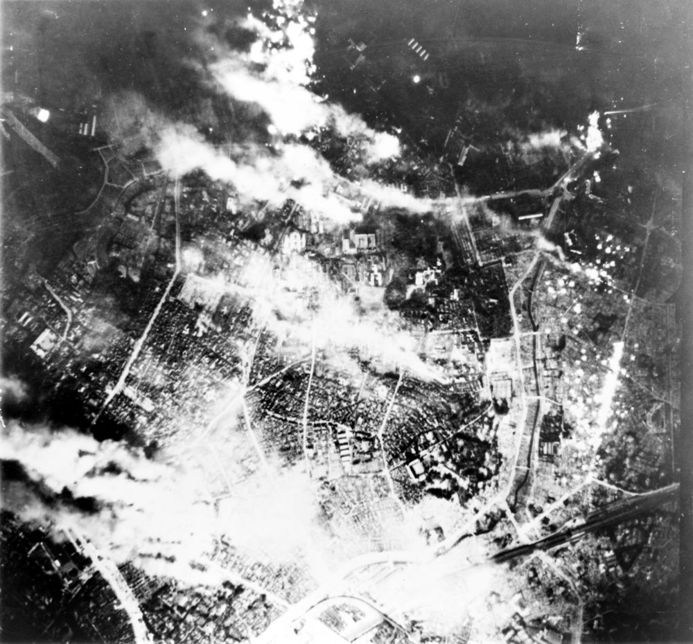 Aerial view of Tokyo following bombing by B-29 Superfortress bombers, night of 26 May 1945 (Library of Congress: LC-USZ62-111427)