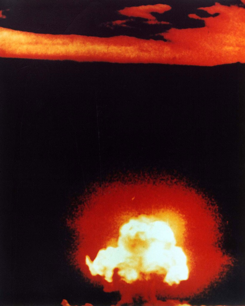 Atomic bomb 'Gadget' exploding during Operation Trinity, Alamogordo, NM, 16 Jul 1945 (US Department of Energy)