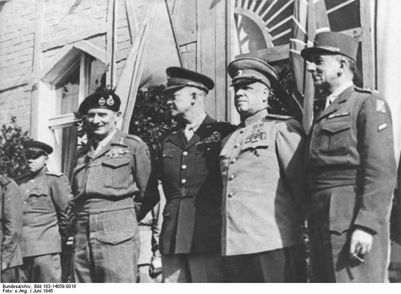 Allied Control Council: Bernard Montgomery, Dwight Eisenhower, Georgi Zhukov, and Jean de Lattre de Tassigny in Berlin, Germany, 5 Jun 1945 (German Federal Archive: Bild 183-14059-0018)