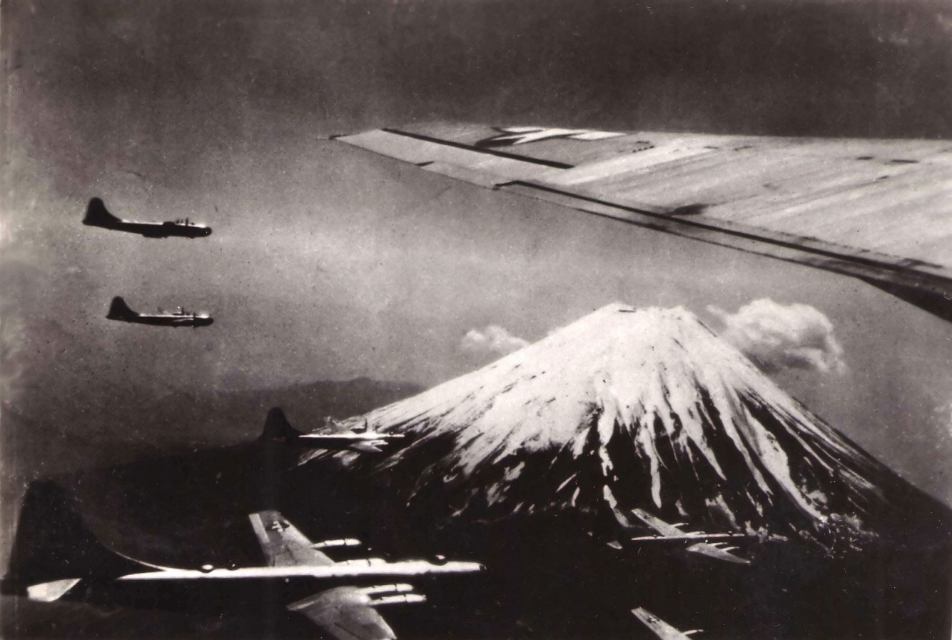 B-29 Superfortress bombers near Mount Fuji, Japan, July 1945 (US National Parks Service)