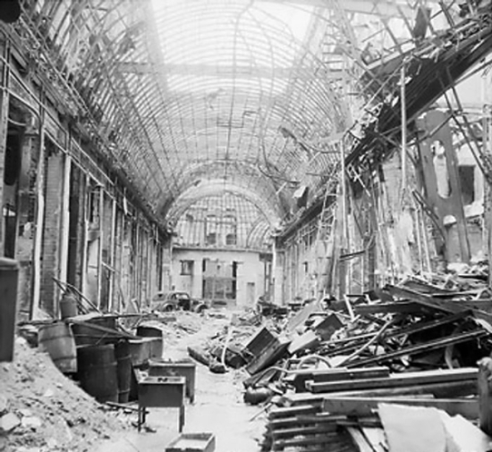 Scene of destruction in the Linden Passage, the famous Berlin, Germany shopping area on the Unter den Linden, 3 Jul 1945 (Imperial War Museum 4700-30 BU 8608)