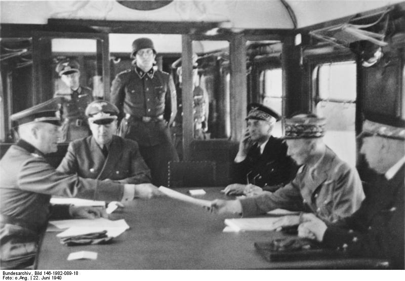 Gen. Wilhelm Keitel accepting the French surrender from Gen. Charles Huntziger, Compiègne, France, 22 Jun 1940 (German Federal Archive: Bild 146-1982-089-18)
