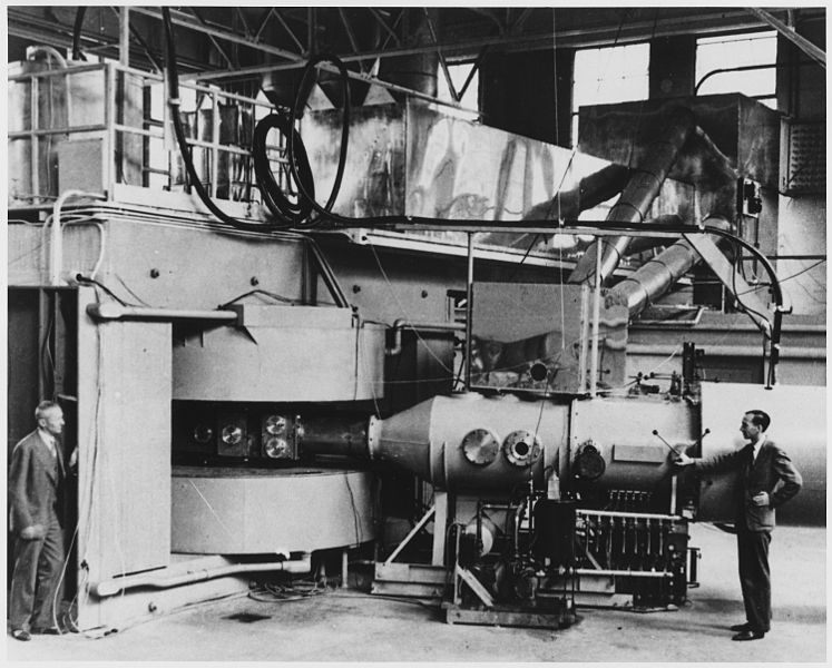 60-inch cyclotron at the University of California Lawrence Radiation Laboratory, Berkeley, in August 1939, used in the discovery of neptunium (US National Archives: 558594)